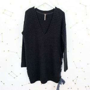 Free People • Black Fuzzy Lace Up V Neck Sweater